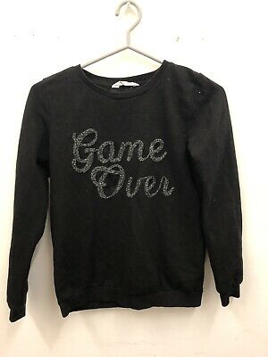 Girls H&M Game Over Black Sweatshirt Pullover Age 12-14 Years
