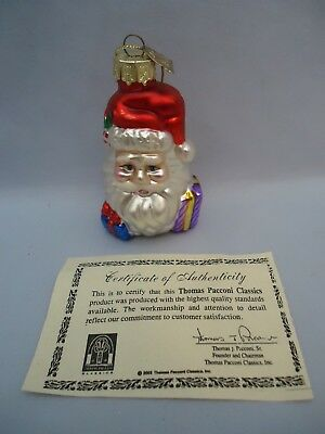 Thomas Pacconi Santa Claus Face Glass Christmas Tree Ornament with COA