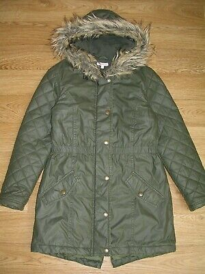 BLUEZOO Girls Khaki Green Parker Winter Coat Jacket Age 9-10 140cm