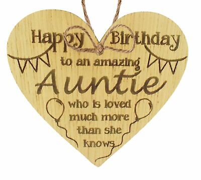 Birthday Gifts For Auntie Thank You Oak Wooden Heart Plaque Shabby Chic Love