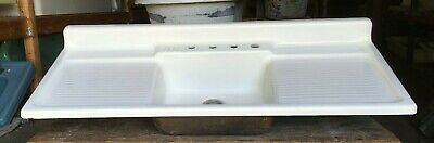 "Vtg Cast Iron White Porcelain 60"" Single Basin Farmhouse Kitchen Sink 135-19E"
