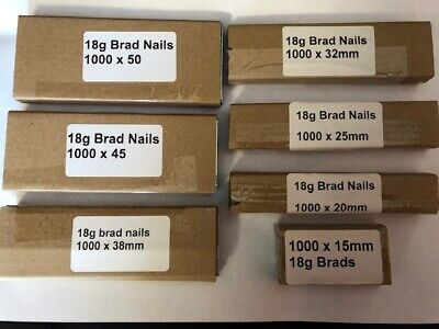18g brad nails  7000 Mixed 15/20/25/32/38/45/50mm (7 x 1000 pks)