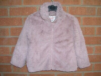 BLUEZOO Girls Pink Faux Fur Winter Coat Bomber Jacket Age 4-5 110cm