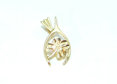 S1557 Raw Brass Four Leaf Clover Wishbone Charms Stampings 4