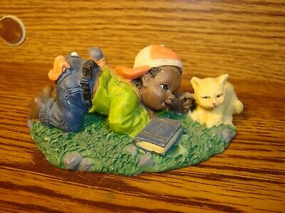 Vintage Black African American Resin Figurine Young Black Boy with Cat - Book