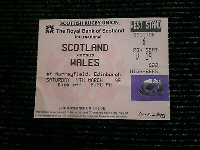 1995-Scotland V Wales-Five-5 Nations-International Rugby Union Ticket