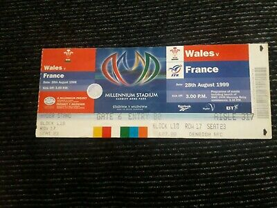 1999-Wales V France-28/8/99-International Rugby Union Ticket