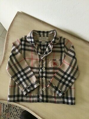 AUTHENTIC BURBERRY 12M BABY BOY LONG SLEEVE BUTTON UP SHIRT w LOGO