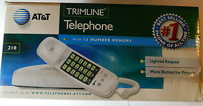 Vintage AT&T TRIMLINE TELEPHONE Model 210 New-In-Box WHITE
