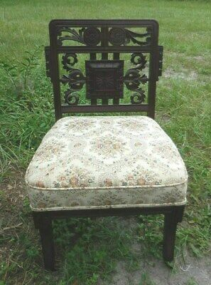 Vintage Carved Wood Side Parlor Desk Chair