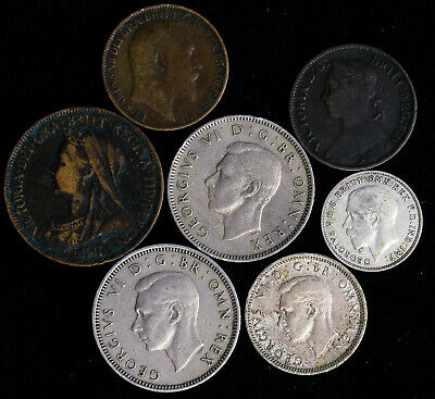 Lot of 7 Great Britain Farthing, Half Penny, 3, 6 Pence, Shilling 1886-1949