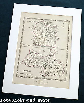 SUSSEX, 1835 - MIDHURST & HORSHAM, Original Antique Town Boundary Map.