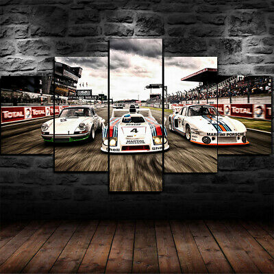 Framed 1978 Porsche 935 936 Rac Cars Poster 5 Piece Canvas Print Wall Art Decor