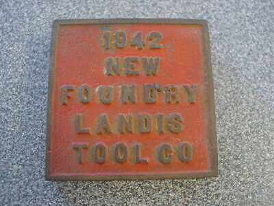 Landis Tools Waynesboro PA 1942 Cast Iron Plate Cover  New Foundry Paperweight
