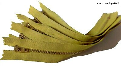 """YKK JEAN ZIPS, BRASS, CLOSED END X5 - 4.5"""" to 7"""",  GOLDEN OLIVE, FREE P&P"""
