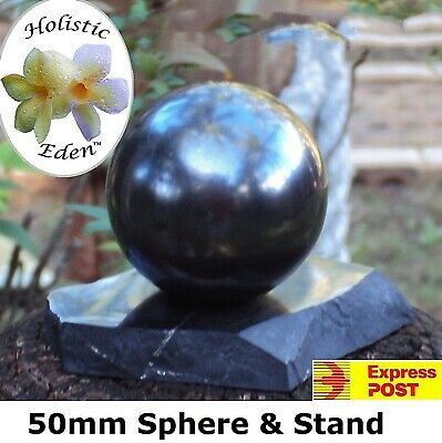 50mm Shungite Sphere + Stand, EMF Protection, Air Purifier Crystal Health Stone