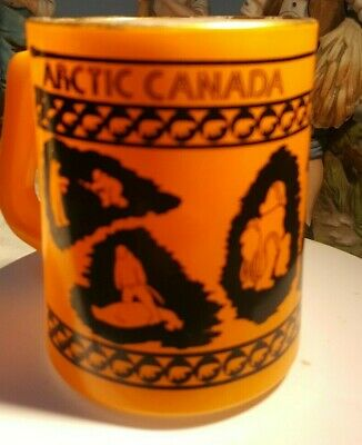 MUG Federal Glass Milk glass.   Arctic Canada design white and orange RARE