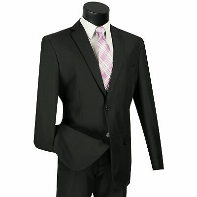 LUCCI Men's Black 2 Button Classic Fit Poplin Polyester Suit NEW