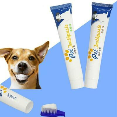 1x Edible Dog Puppy Cat Toothpaste Teeth Cleaning Care Oral Hygiene Toothbrush