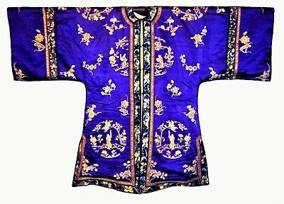 Antique Chinese Robe Silk Embroidery Qing Embroidered Forbidden Knot Museum WOW!