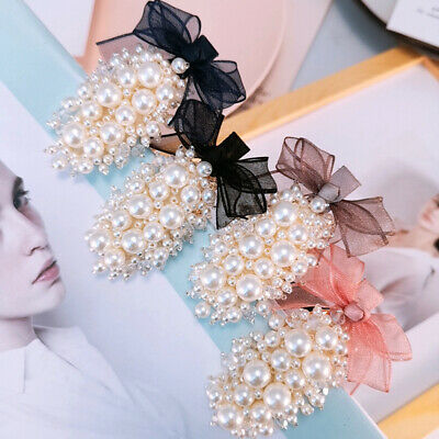 CO_ Oval Faux Pearl Hairpin Hair Clip Fashion Lady Barrette Headwear with Bowkno
