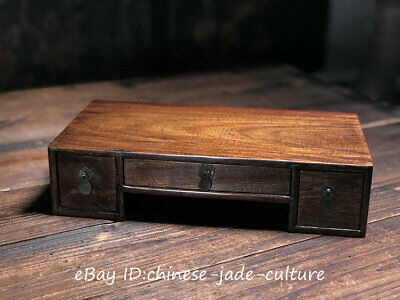 """13""""China Rose Huanghuali Wood Classical Furniture Dining Center Drawer Tea Table"""