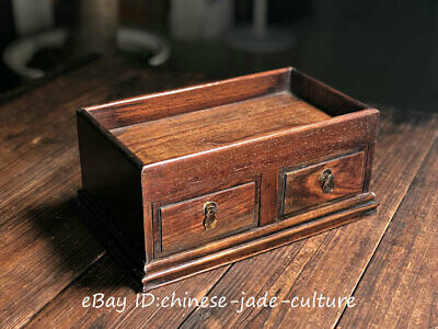 """12"""" Old Huanghuali Wood Drawer Chest Storage Box Bin Case Tea Table Plate Dish"""