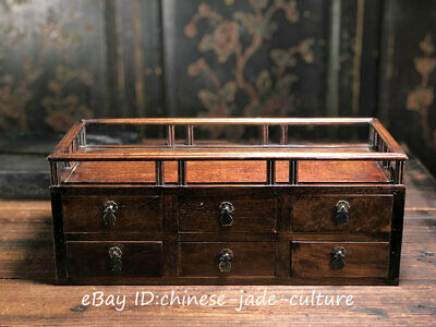 "17"" Old China Huanghuali Wood Classical Drawer Furniture Dining Center Tea Table"