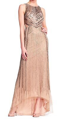 Adrianna Papell Womens Dress Beige US Size 12 Gown Embellished Hi-Lo $595- 484