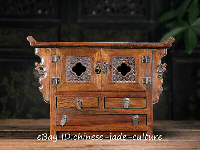 """17"""" Old Antique Huanghuali Wood Counch Drawer Table Desk Cupboard Cabinet Locker"""