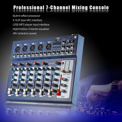 ammoon F7-USB 7-Channel Digital Mic Line Audio Sound Mixer Mixing Console G7W4