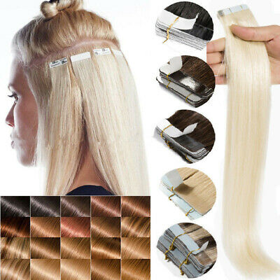 Tape In On 100% Remy Human Hair Extensions Skin Weft Blonde Ombre 20/40/60PCS