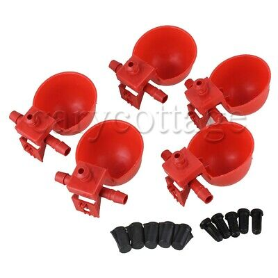 5PCS Red Poultry Water Drinking Cups Chicken Hen Plastic Automatic Drinker