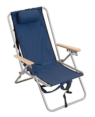 High Back Steel Backpack Beach Chair By Wearever Blue Rio Brands