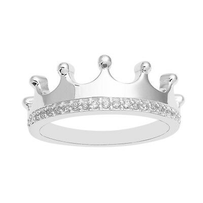Princess Queen CZ 925 Silver Ring Indian Hot Best Selling Crown Cubic Zircon CZ