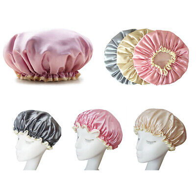 Waterproof Shower Cap Womens Bath Cap Hair Hat Satin Cover Hair CareProtection