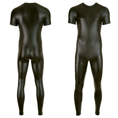 Sexy Mens Wet Look PVC Leather Bodysuit CLUB Zipper Skinny Jumpsuits Costumes