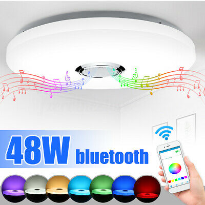 Dimmable 48W 3D RGB LED Ceiling Light bluetooth Music Speaker Lamp APP Control