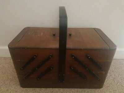 Vintage Fold Out Accordion Wood Sewing Box Cabinet Made In Poland Stocked Craft