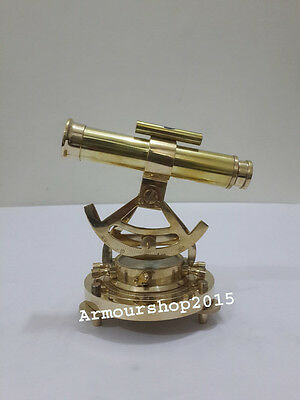 """Alidade 6"""" BRASS TELESCOPE WITH COMPASS NAUTICAL ANTIQUE for Christmas Gift"""