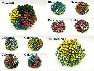 SET2 Rose Bud Mulberry Paper Flower 4 mm. For Craft Handmade Wedding #CMR1-1