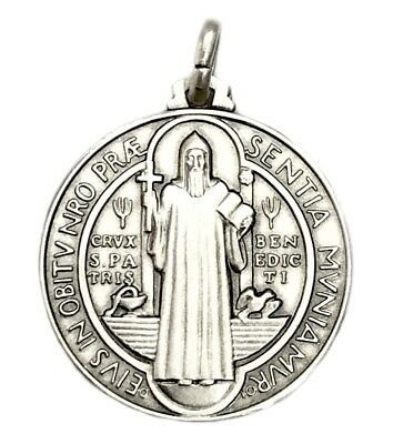 25MM Sterling Silver 925 San Benito St Benedict Medal Necklace Pendant-ITALY