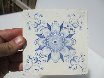 "Antique Ceramic Tile Vintage Floral Flower Leaf Art Nouveau Flowers Old 4.75""W"