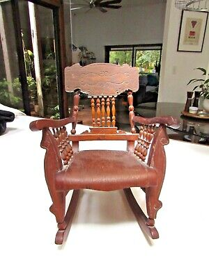 "Rare Vtg Carved Antique DOLL Wood Rocking CHAIR Victorian 9"" Art Decor hand made"