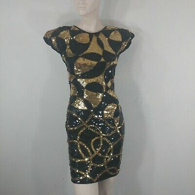 vintage cache dress sequined beaded party cocktail evening wear size 2 padded