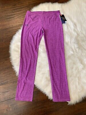 Under Armour Girls Leggings Purple Athletic Pants YXL XL Full Length Fitted