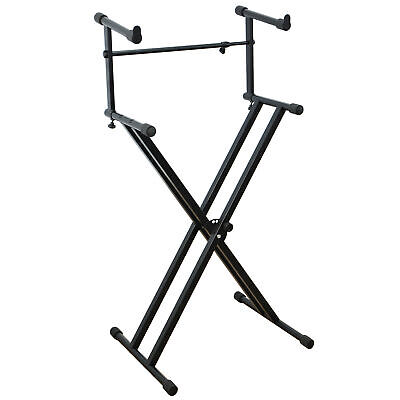 Rocket X Frame Dual Keyboard Stand 2-Tier - Double Braced Adjustable Height