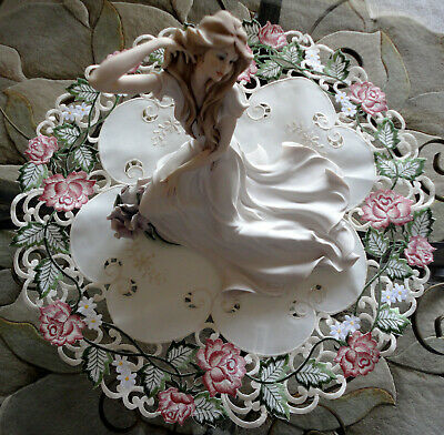 Doily Garden Rose 23 inch  Lace Flower Ivory Pink Green Cream rounR