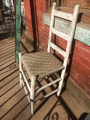 Vintage Antique Chair White Chipped Paint Woven String Seat Chippy Farm Kitchen