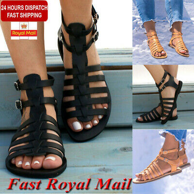 Women's Sandals Ladies Strappy Gladiator Flat Summer Holiday Beach Shoes Size UK